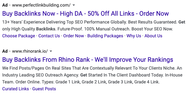 Google Search Result Ads