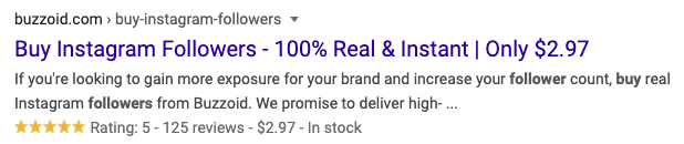 Google Search Results Ad - Buy Instagram Followers