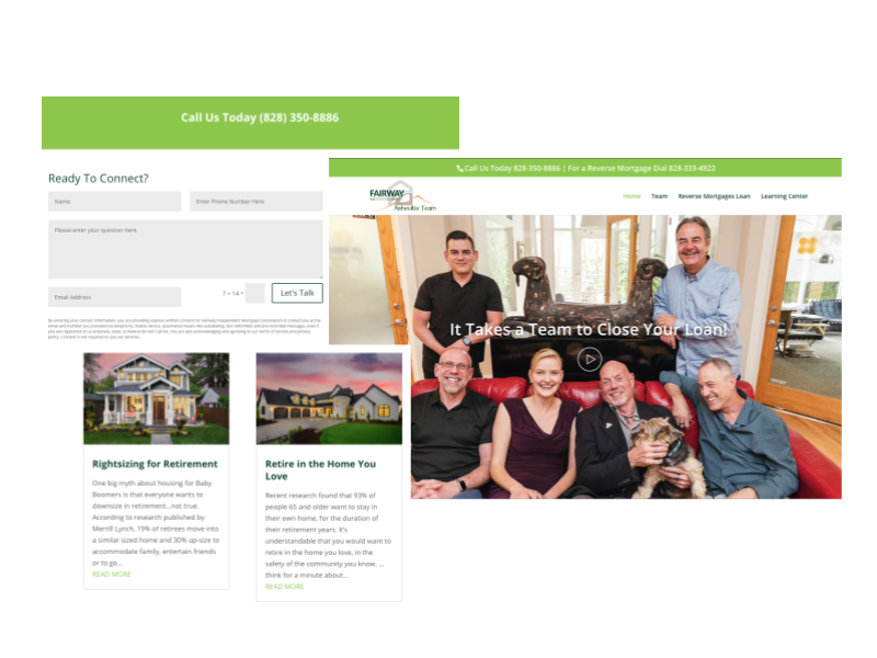 Screenshots from the new Fairway website with a contact form, blog entries, and image of the team.