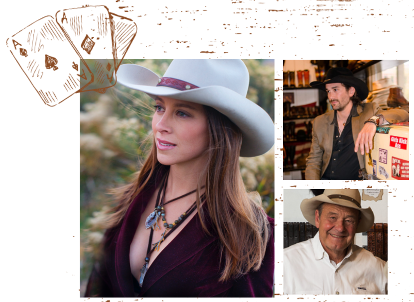 Lifestyle photos of Kemo Sabe's western wear hats.
