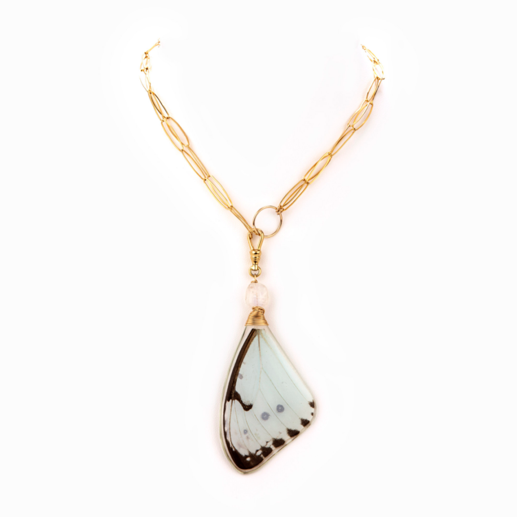Example image of a close up on the Blue Day necklace by Taylor and Tessier