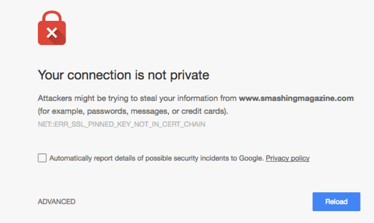 "Example of a ""Connection is not private"" warning that shows up in a browser on websites without an SSL certificate."